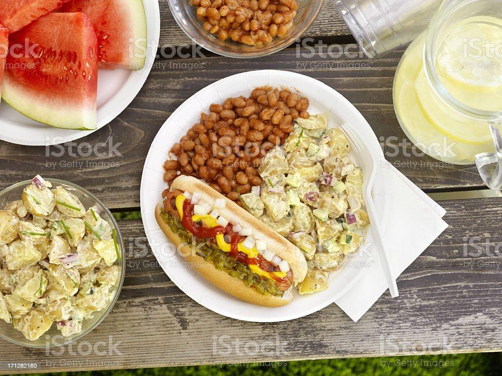 BBQ Hotdog with Lemonade stock photo