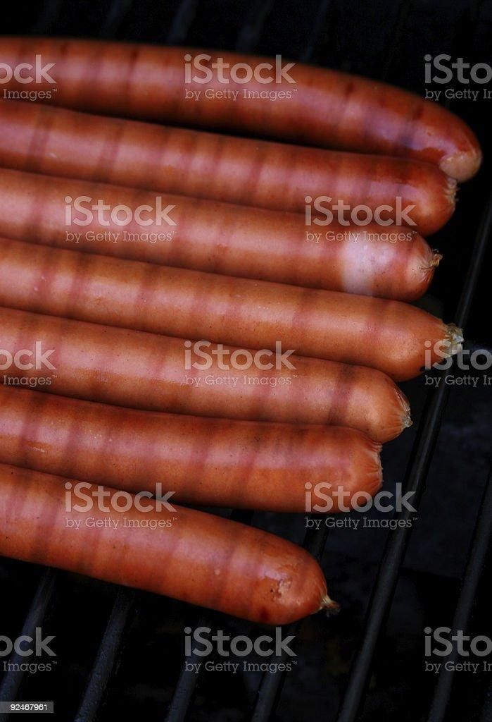 Hotdogs on the BBQ stock photo