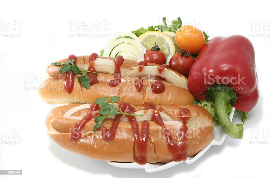 Hotdogs with Fresh Vegetables royalty-free stock photo