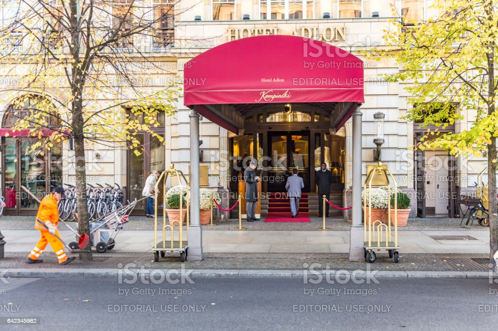 Hotel Adlon Kempinski with unidentified people. stock photo
