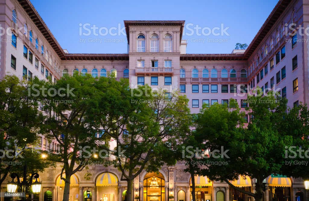 Hotel along Wilshire Boulevard in Beverly Hills, CA stock photo