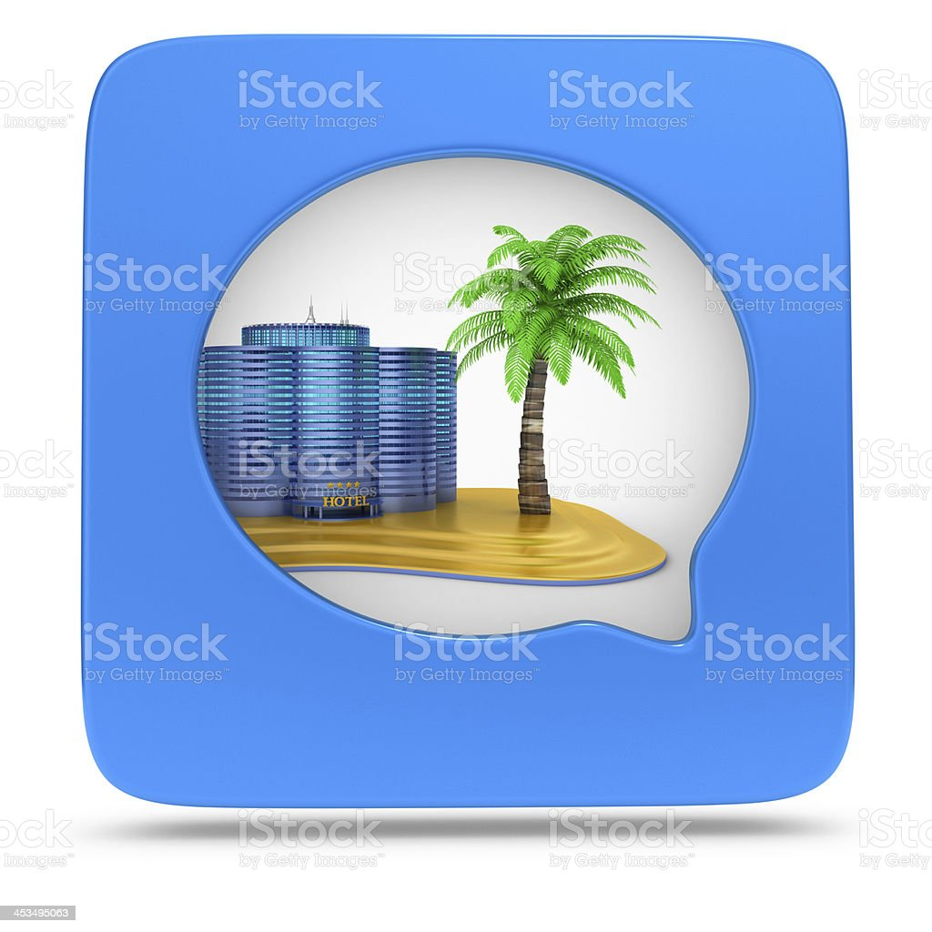 Hotel and  Beach - Icon in the Square royalty-free stock photo