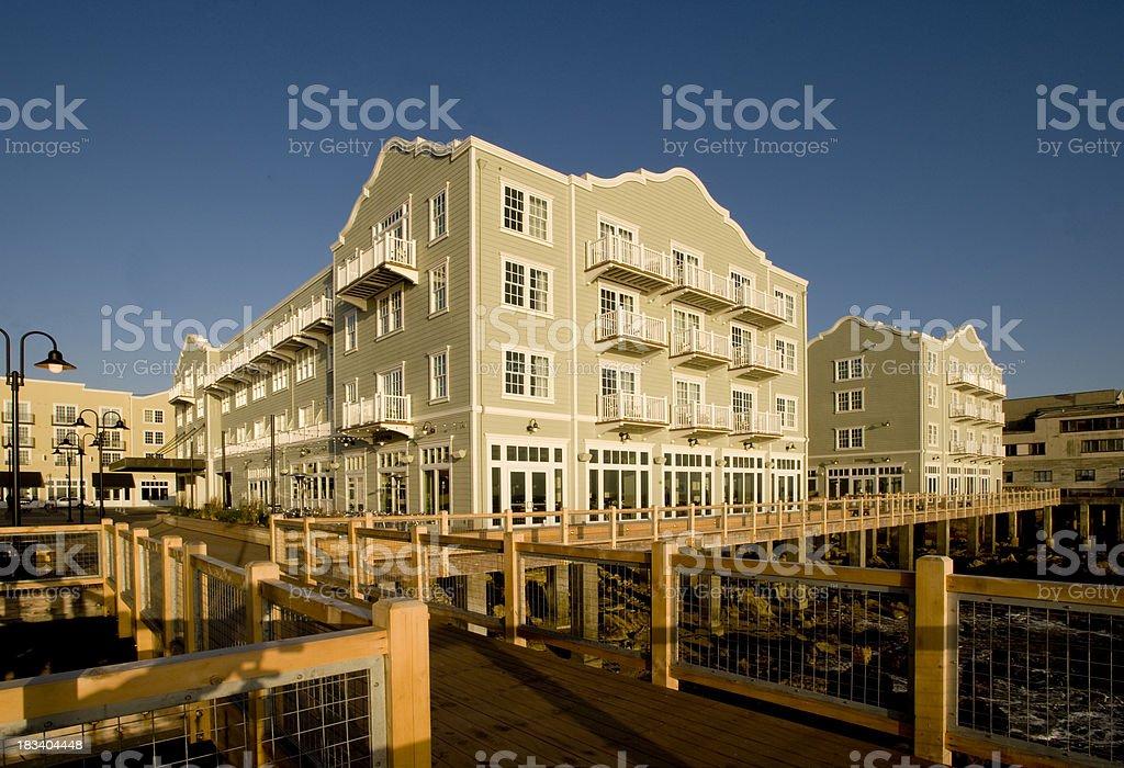 Hotel and Boardwalk, Monterey, CA stock photo
