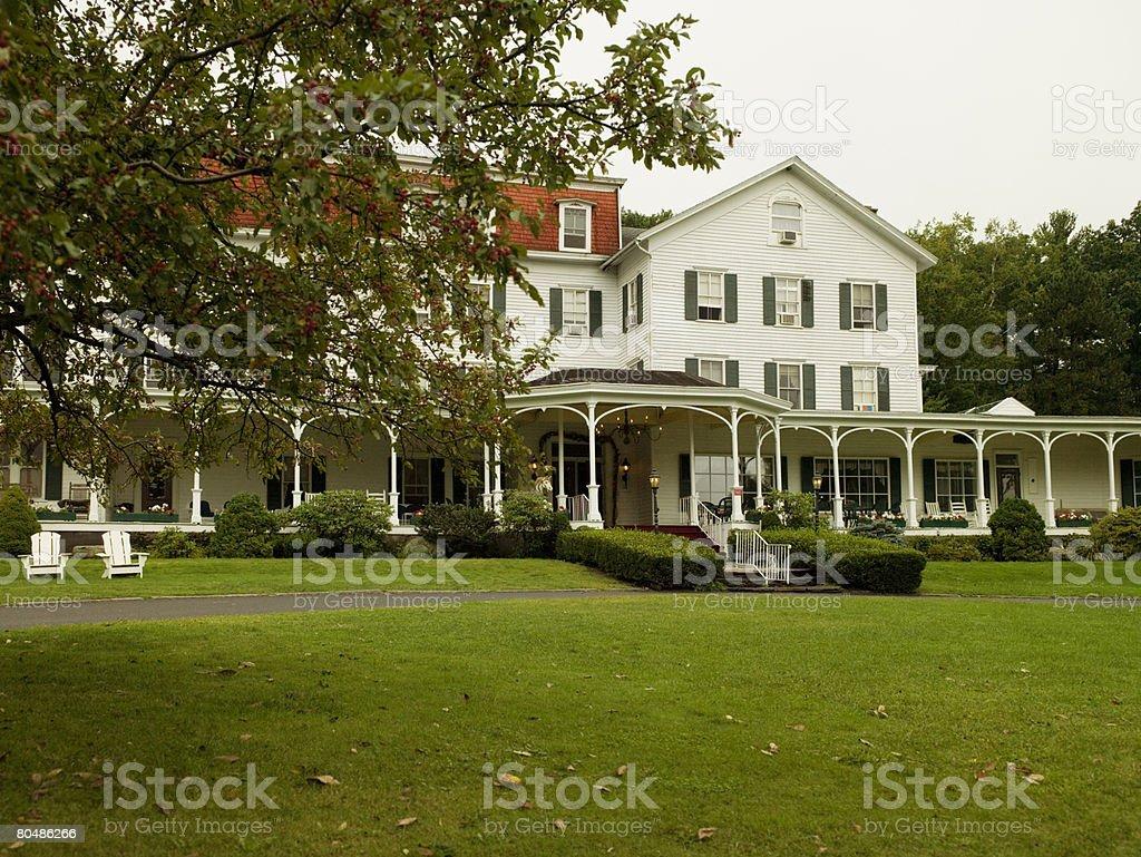 Hotel and garden stock photo