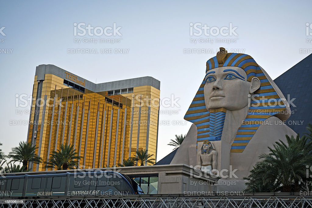 THE Hotel and Luxor Spinx on Strip in Las Vegas royalty-free stock photo