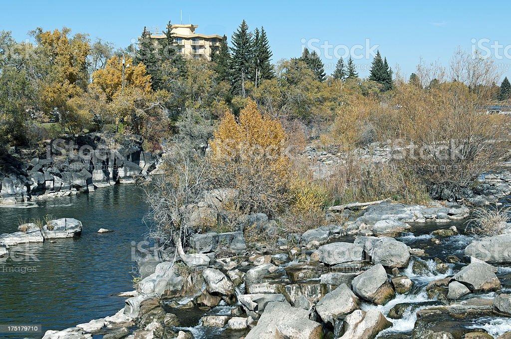 Hotel and waterfall in Idaho royalty-free stock photo