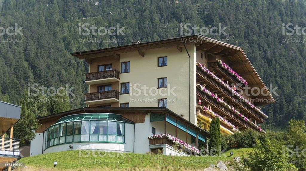 Hotel at skiresort in summer royalty-free stock photo