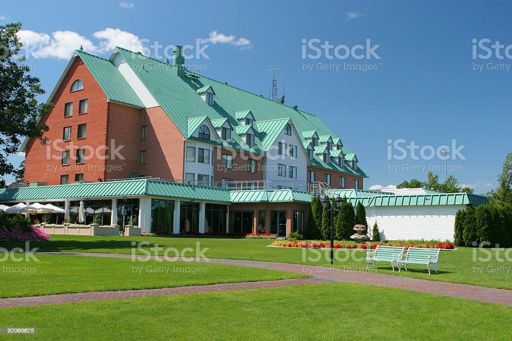 Hotel Backyard stock photo
