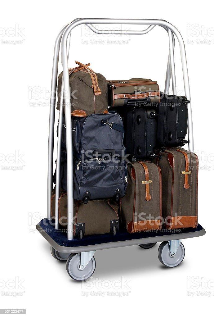 hotel baggage cart isolated on white background stock photo