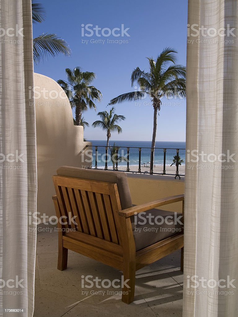 hotel balcony in mexico - vertical royalty-free stock photo