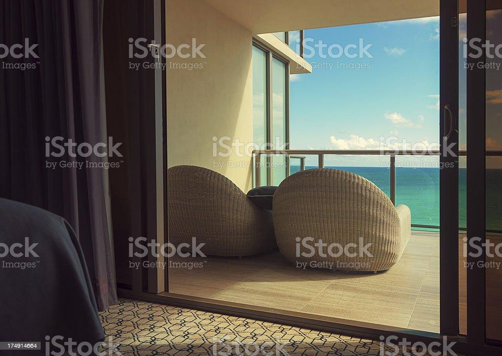 hotel balcony stock photo
