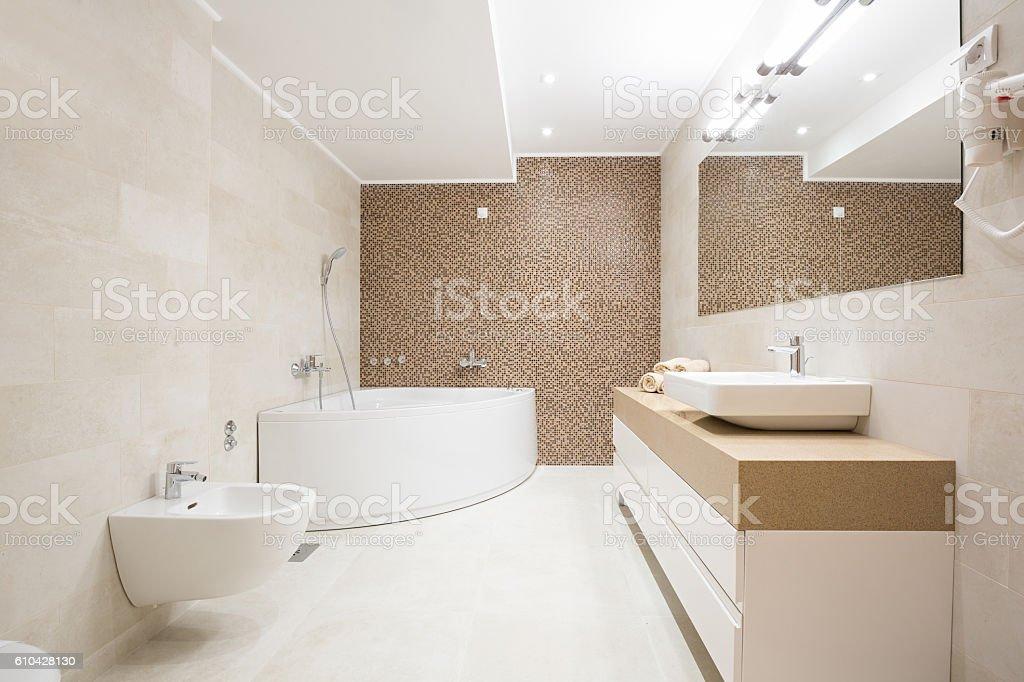 Hotel bathroom with hydro massage bath tub stock photo