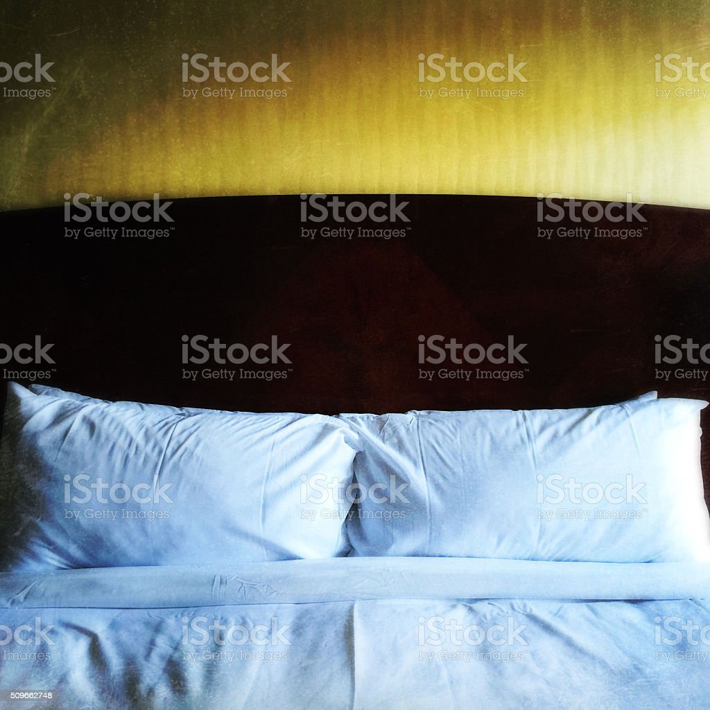 Hotel Bed Headboard Pillows stock photo