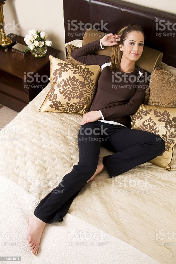 Hotel Bed Smile 1 stock photo
