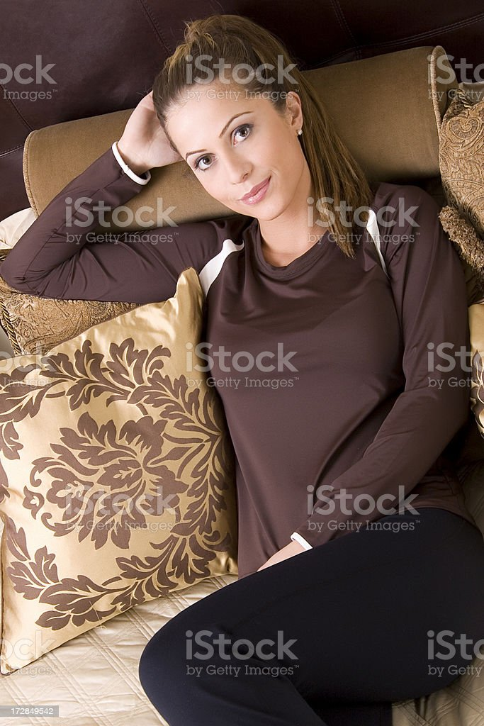 Hotel Bed Smile 4 royalty-free stock photo
