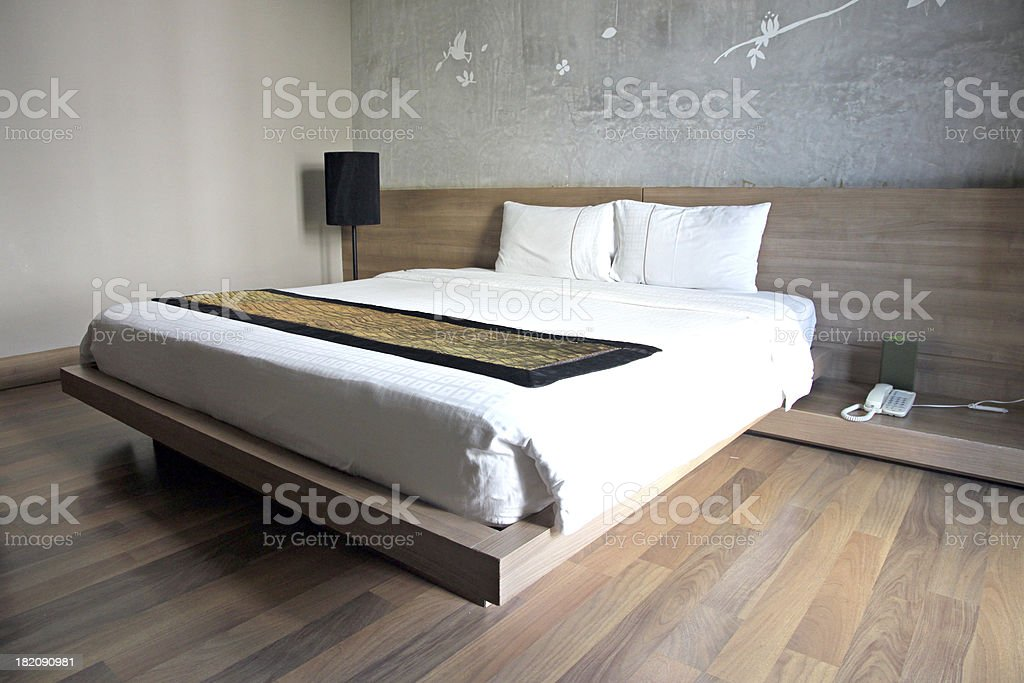 Hotel bedroom wood in holiday. royalty-free stock photo