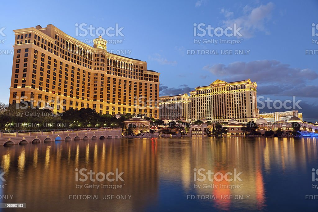 Hotel Bellagio and Caesars Palace stock photo