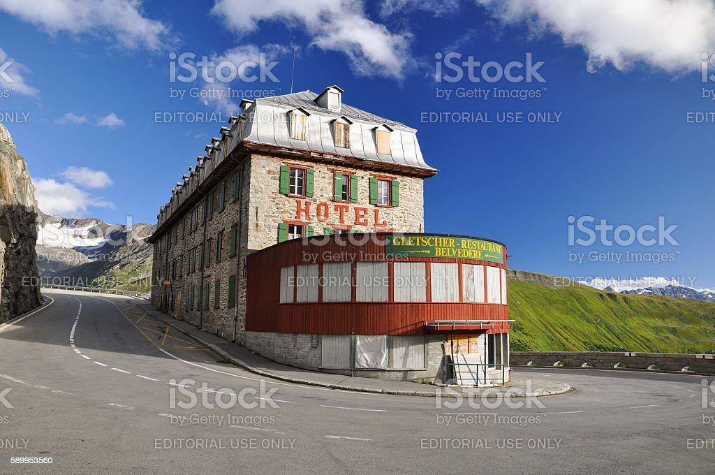 Hotel Belvedere at Furka Pass in Wallis - Switzerland stock photo