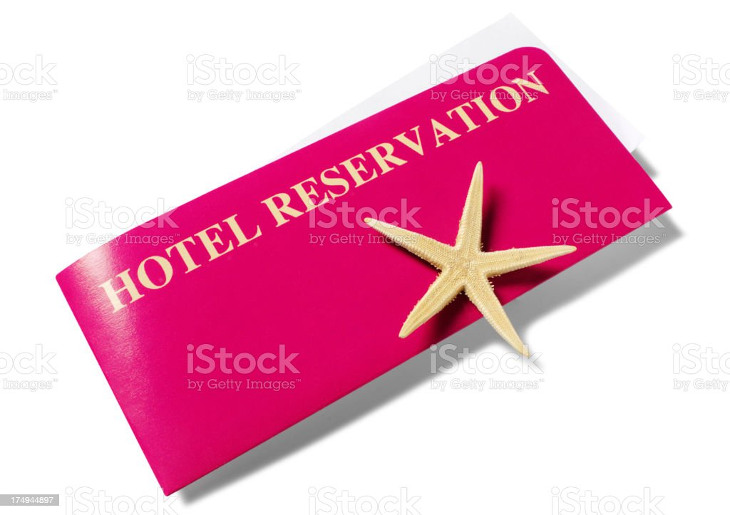 Hotel Booking Tickets with a Starfish stock photo