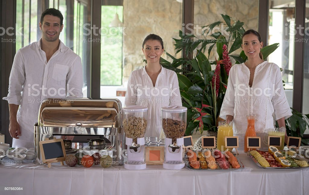 Hotel breakfast buffet stock photo