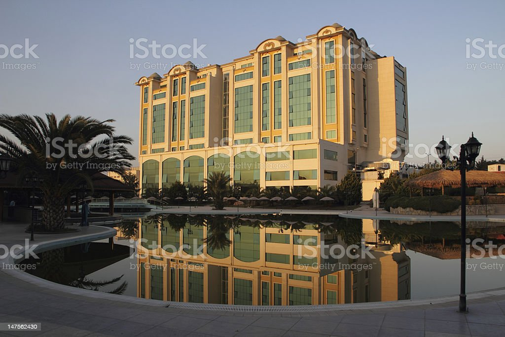 hotel building in the eving sun with reflexion royalty-free stock photo