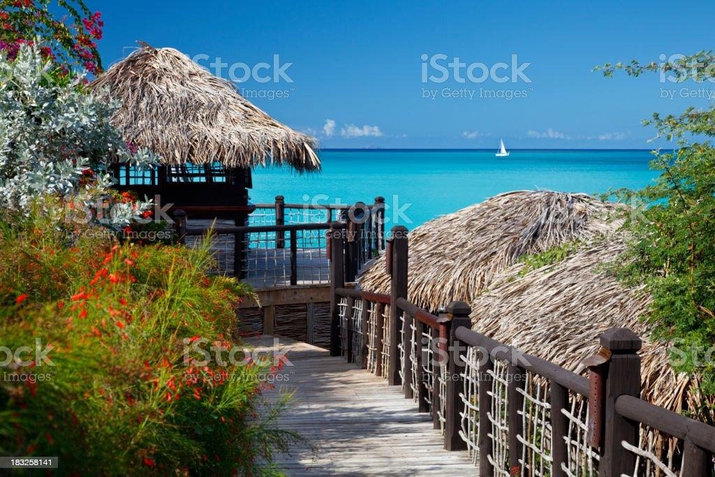 Hotel Buildings Overlooking Caribbean Bay stock photo