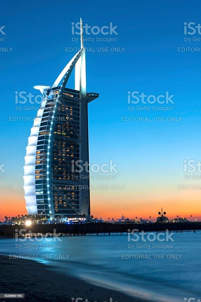 Hotel Burj Al Arab in Dubai stock photo