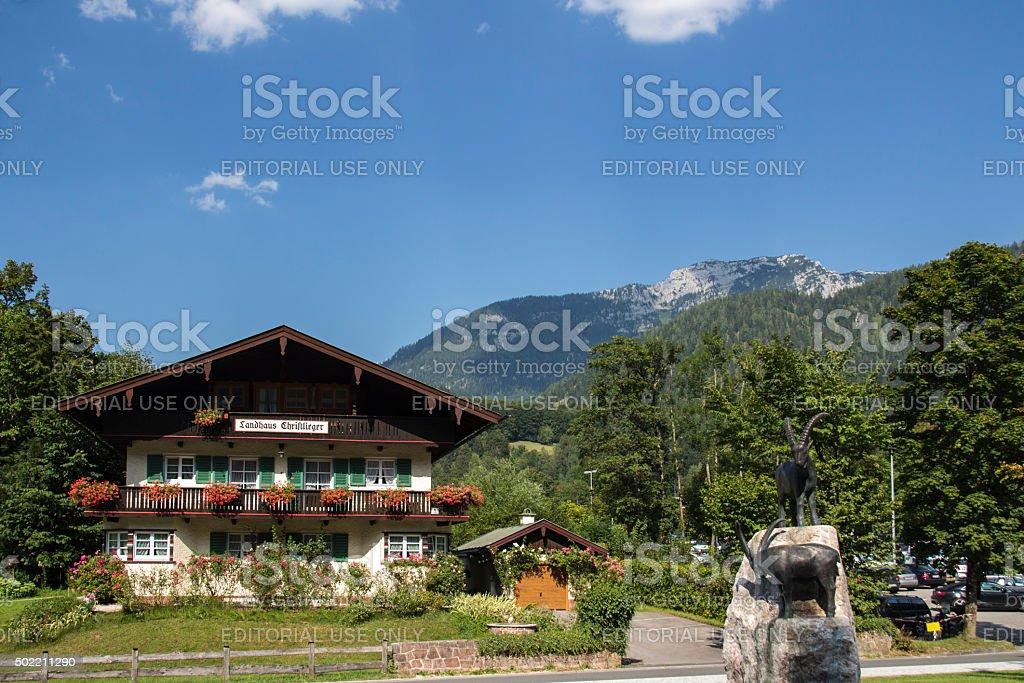 Hotel Christlieger in Schoenau at the Koenigssee lake, Germany, 2015 stock photo