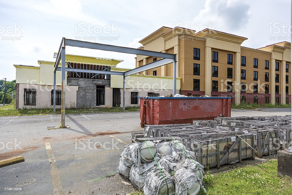 Hotel construction stopped before complete stock photo