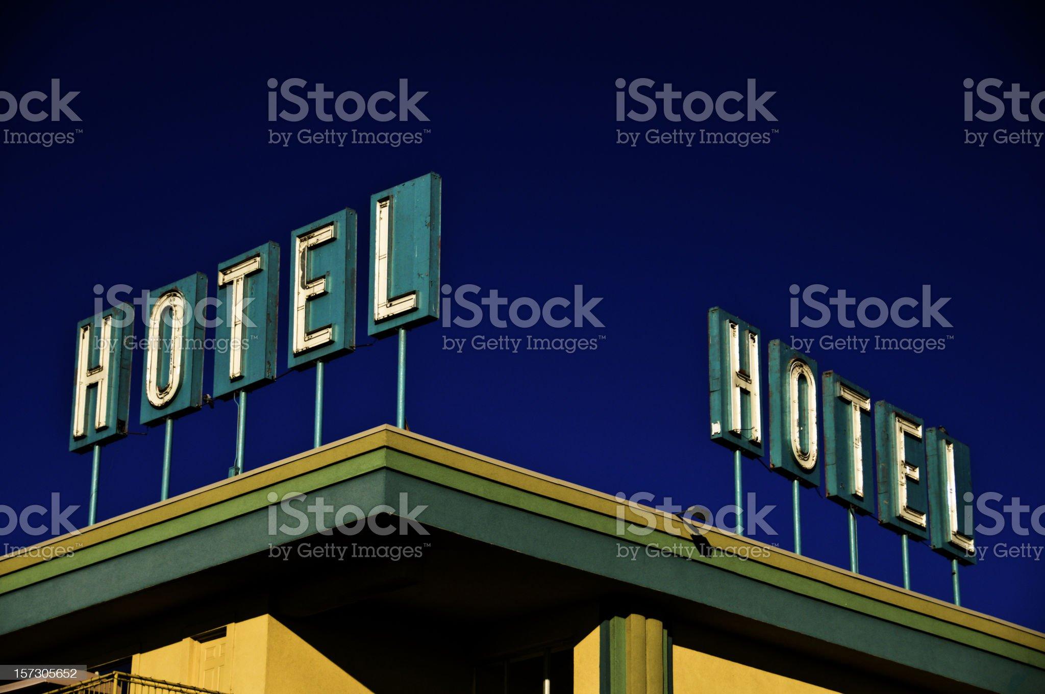 Hotel Corner Sign royalty-free stock photo