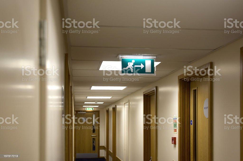 Hotel corridor fire exit stock photo