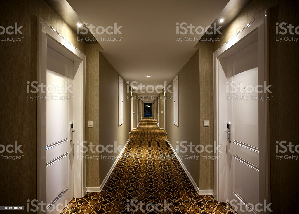 Hotel Corridor stock photo