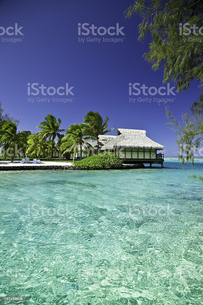 Hotel Cottages in Paradise Lagoon royalty-free stock photo