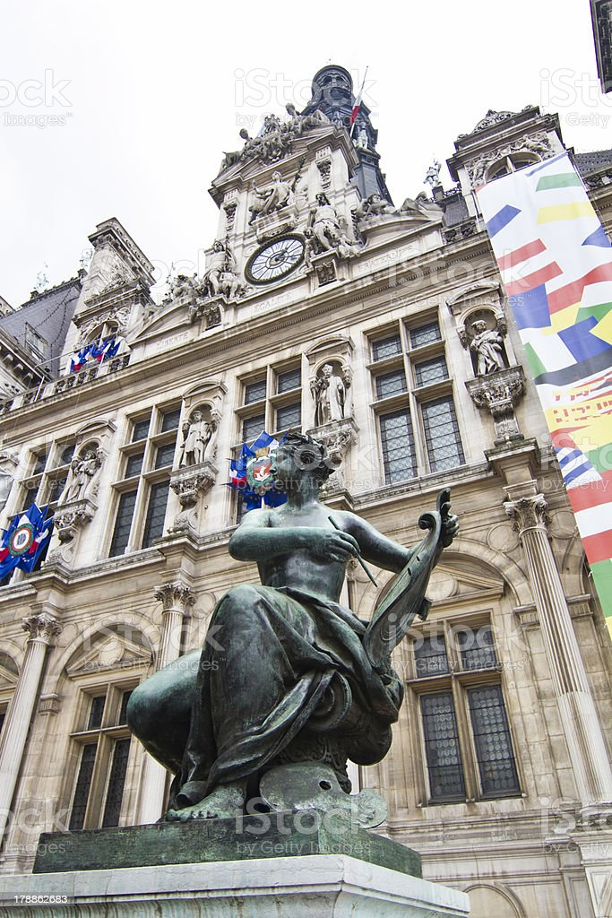 Hotel de Ville building, Paris, France stock photo