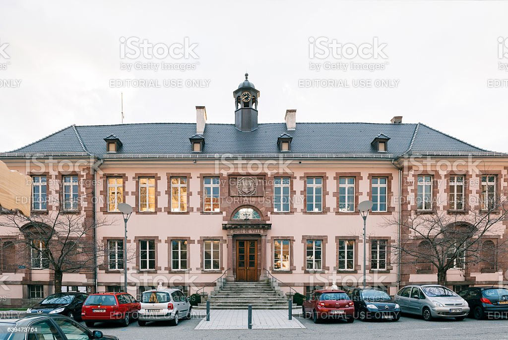 Hotel De Ville City Hall building in Thann stock photo
