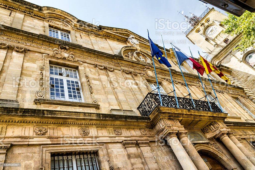 Hotel de Ville in Aix en Provence stock photo