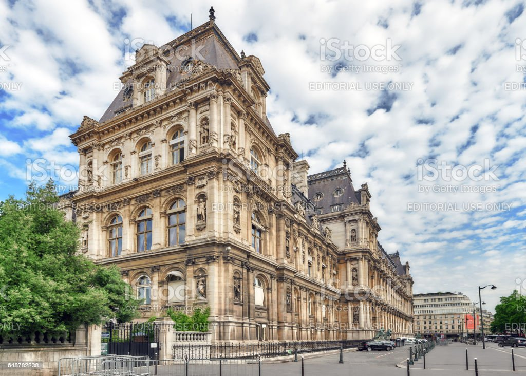 Hotel de Ville in Paris, is the building housing city's local administration,it has been the headquarters of the municipality  since 1357. stock photo