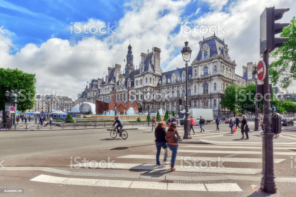 Hotel de Ville in Paris, is the building housing city's local administration,it has been the headquarters of the municipality  since 1357. France. stock photo