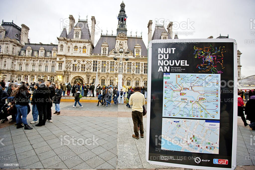 Hotel De Ville. Transportation map for celebration of New Year. royalty-free stock photo