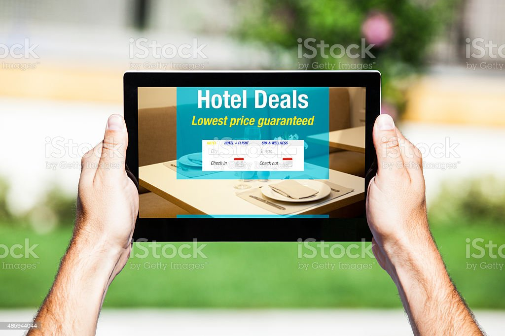 Hotel Deals offer on tablet. Web template design. stock photo