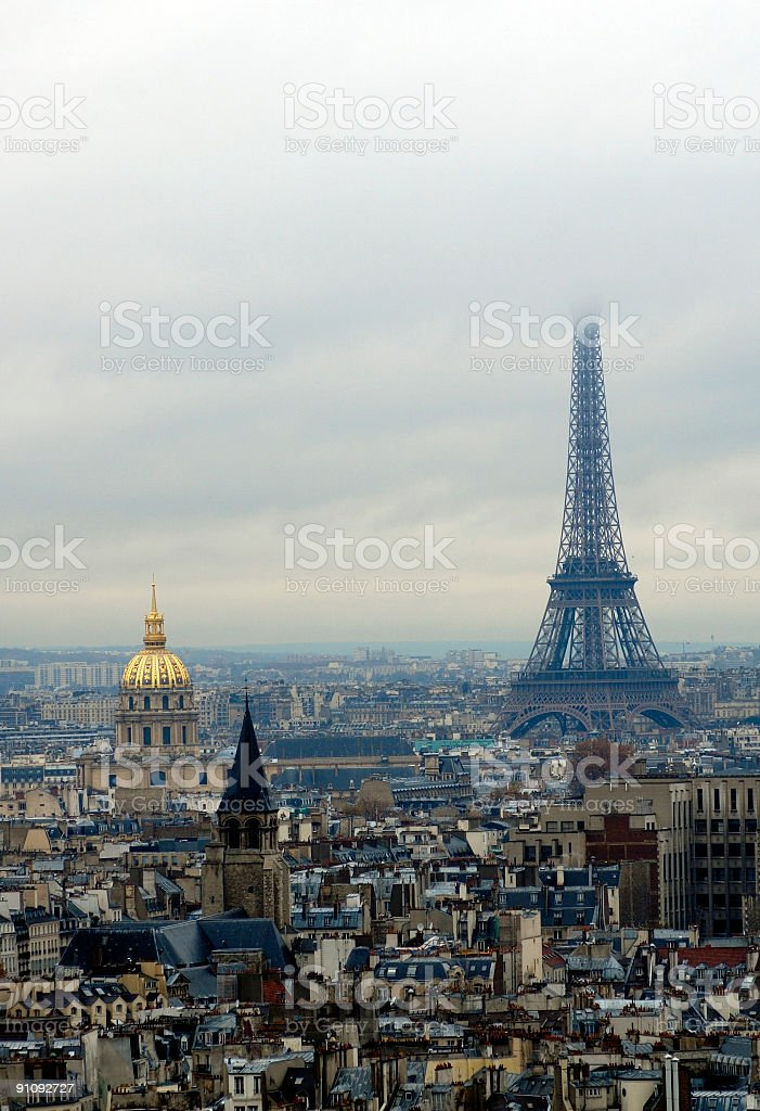 Hotel des invalides and Eiffel tour (tower) in fog royalty-free stock photo