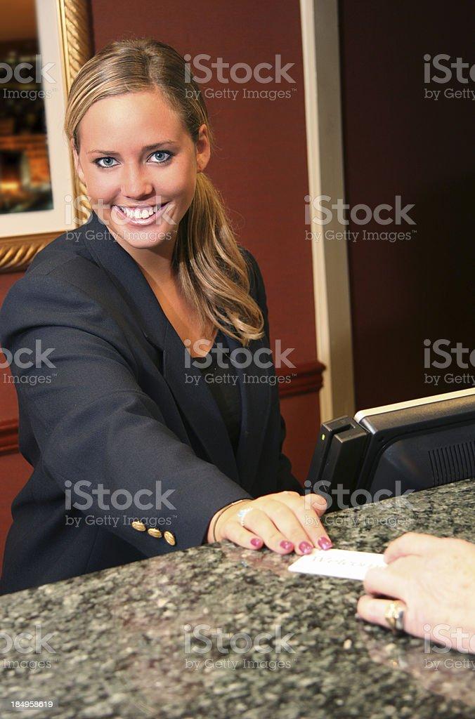 Hotel Desk Smile royalty-free stock photo