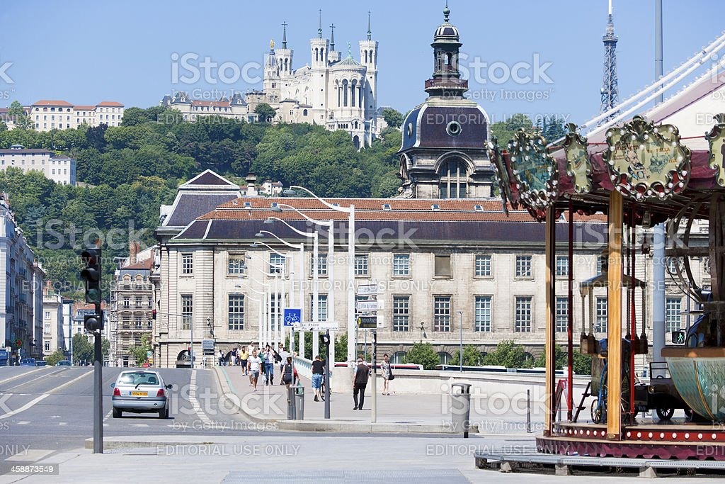 Hotel Dieu and Notre Dame de La Fourviere of Lyon stock photo