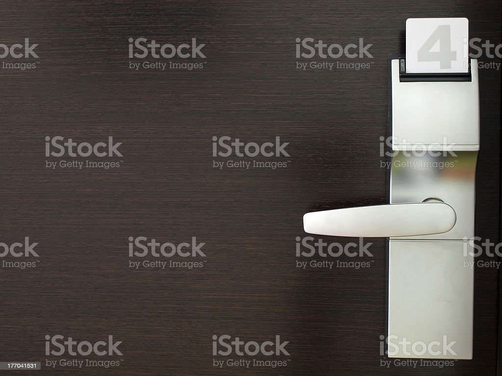 Hotel door with security lock royalty-free stock photo