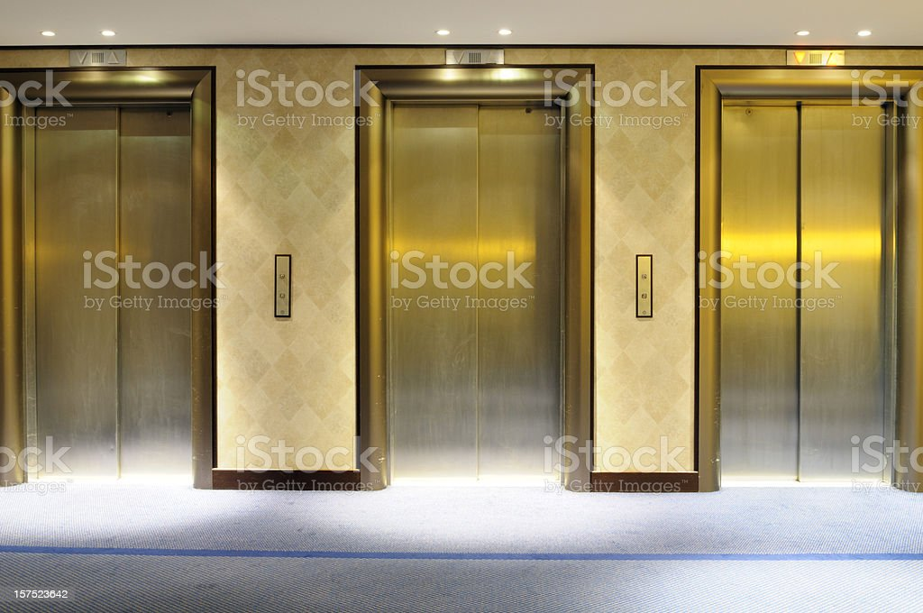 Hotel Elevators stock photo