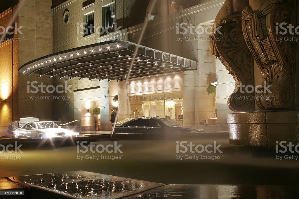 Hotel Entrance at Night stock photo