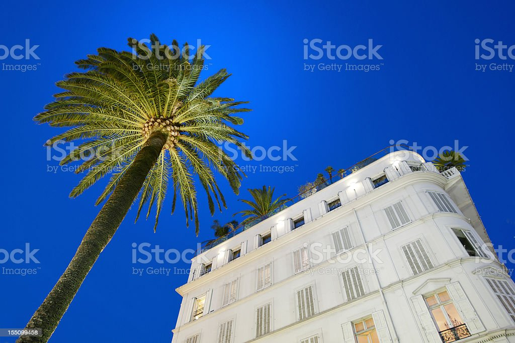 hotel facade and palm tree at sunset in Cannes royalty-free stock photo