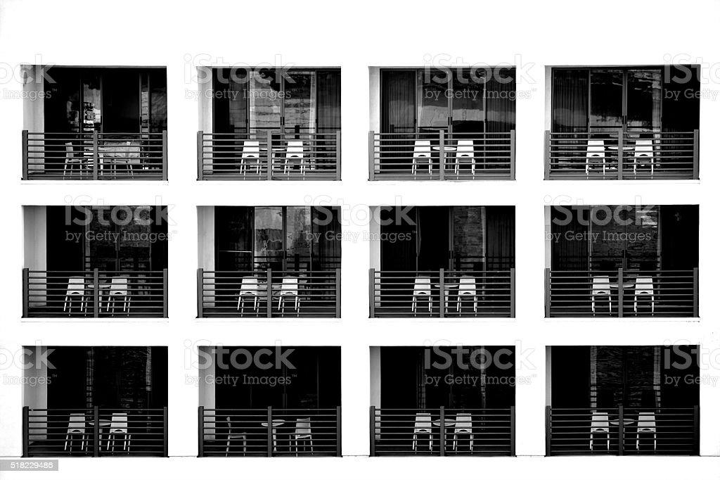 Hotel Facade with balconies stock photo