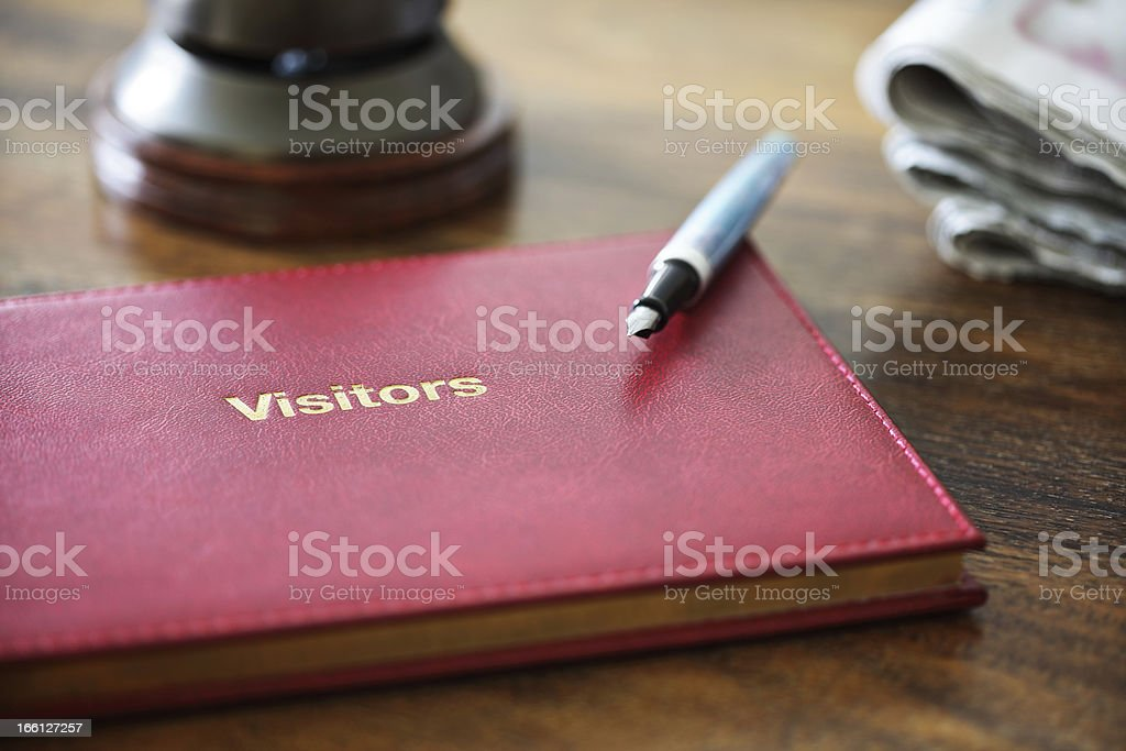 Hotel guest book stock photo