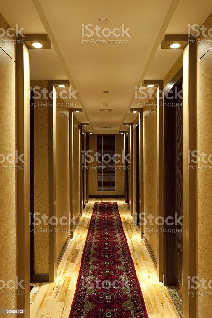 hotel hallway corridor stock photo